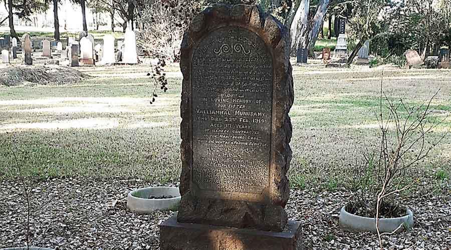 The grave of Valliamma R. Munuswamy Mudaliar, Johannesburg.