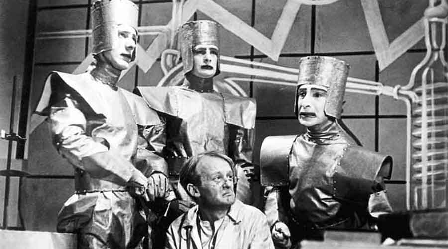 The science fiction stage play, R.UR., by Czech writer Karel Capek, was staged in 1921. It featured 'robots'