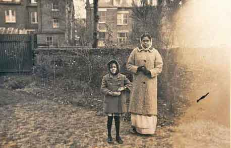 With her mother in London at the age of seven