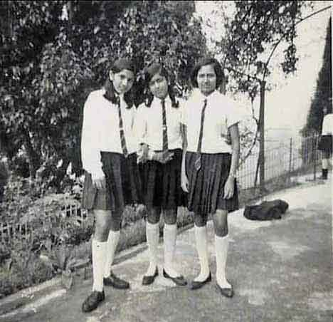 Bashabi (centre) with friends during her schooldays at St Helen's Convent in North Bengal