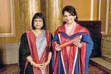 Bashabi with Sharmila Tagore in 2012 when she was awarded an honorary doctorate with Fraser doing the laureation