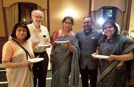 Fraser and husband Neil with Debanjan Chakrabarti and his wife Debnita at a British Council reception in Calcutta