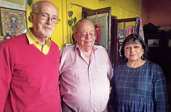 Bashabi and husband Neil (left) with Ruskin Bond at his Ivy Cottage in Mussoorie