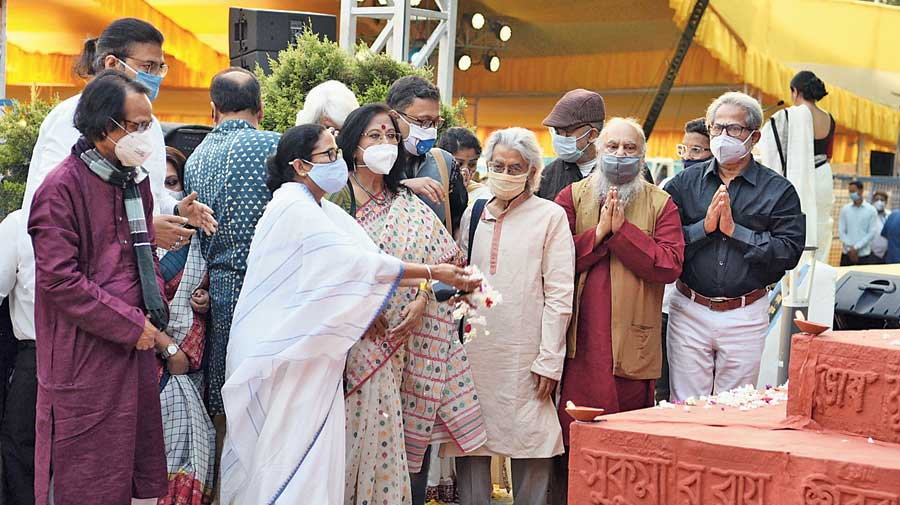 Mamata Banerjee during the International Mother Language Day event at Deshyapriya Park, Calcutta, on Sunday evening.