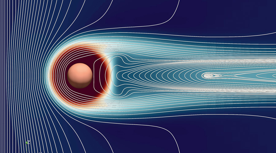 A computer-generated illustration of how the solar wind represented here on the left of Mars, the red sphere, stripped the planet of its atmosphere. The faint orange wisps trailing rightward near the poles of the planet represent the erosion of the atmosphere.