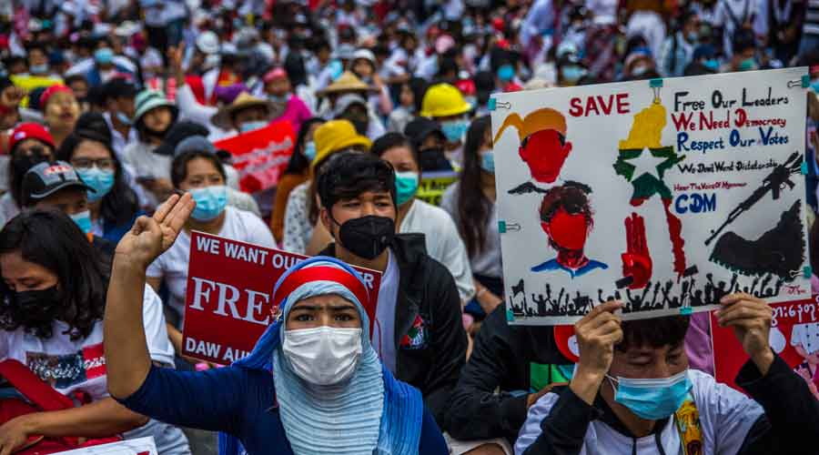 People protest the recent military coup, in Yangon, Myanmar on Monday