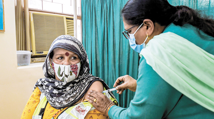 Around 66 per cent of the country's adult population has been given at least one jab while 23 per cent is fully vaccinated.