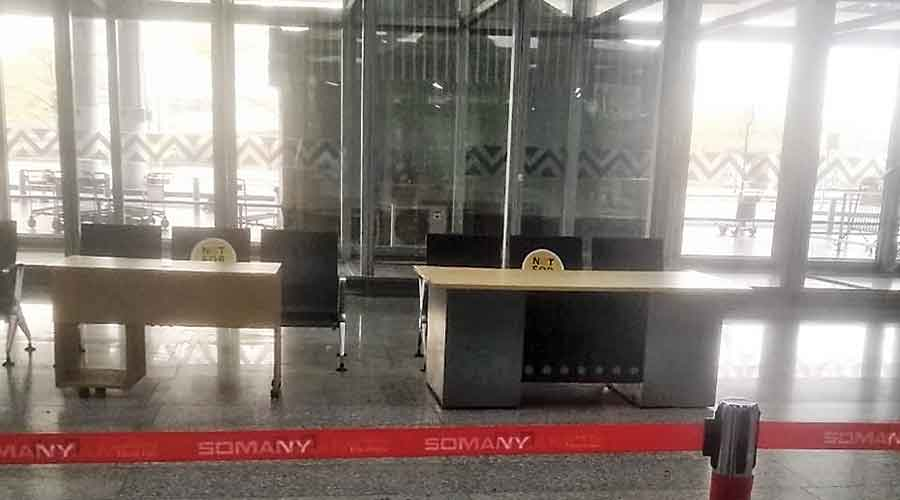 Counters to collect swab samples for Covid tests being set up at the Calcutta airport on Monday afternoon