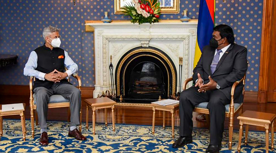 External Affairs Minister S Jaishankar with Mauritius President Prithvirajsing Roopun during a meeting, in Port Louis.