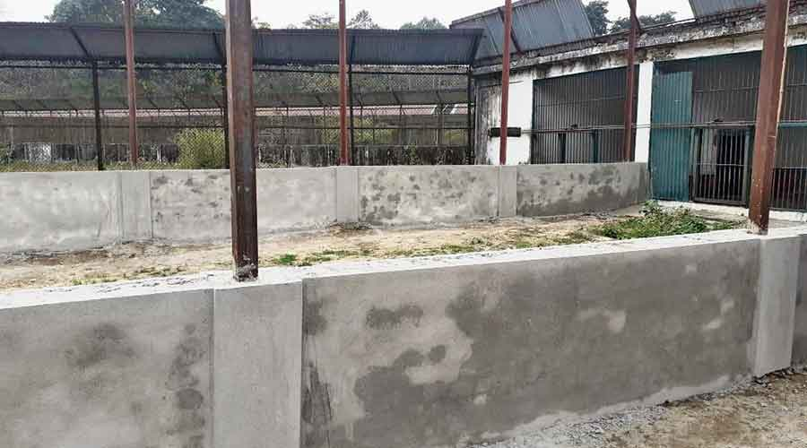 A semi-finished enclosure at the South Khayerbari park in Alipurduar where the mini zoo is coming up