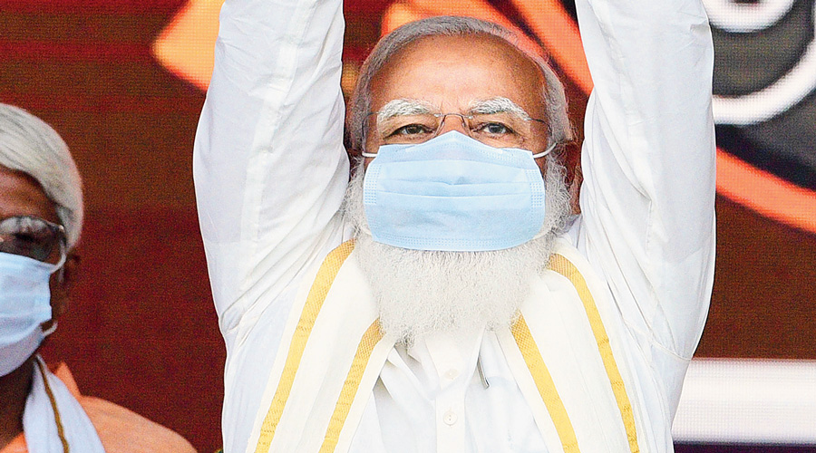 Modi in Sahagunje on Monday.
