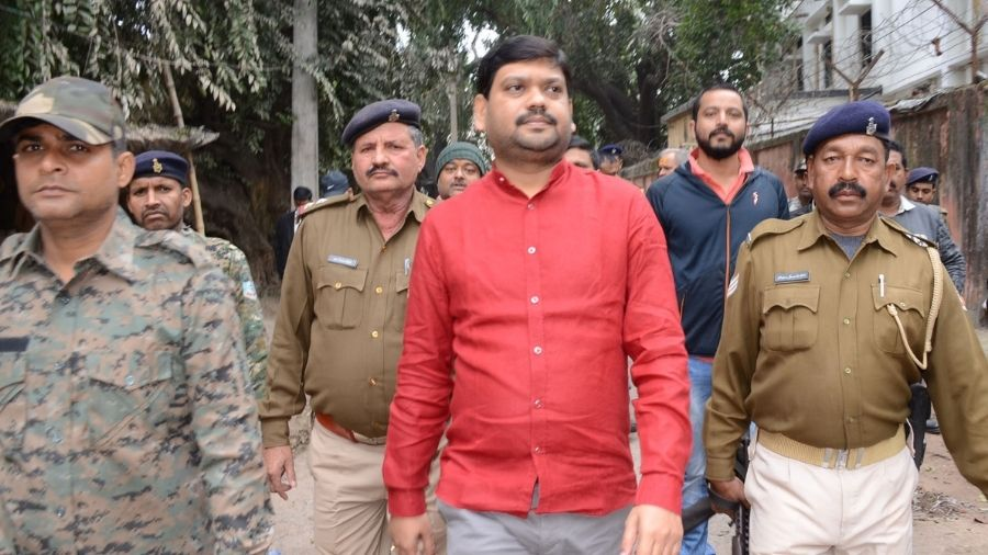 Sanjeev Singh comes out of a Dhanbad court in 2019, during the first hearing of the Neeraj Singh murder case.