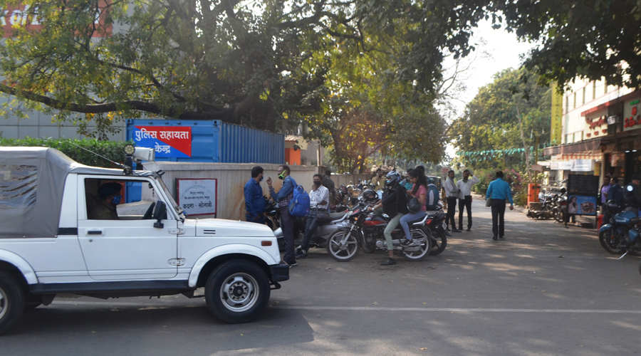 The entrance of Bank of Baroda where a police team reached after the snatching took place in Bistupur on Tuesday.