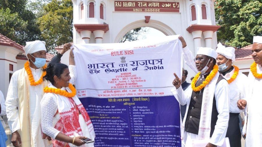 Pathalgadi supporters outside Raj Bhavan in Ranchi on Tuesday.
