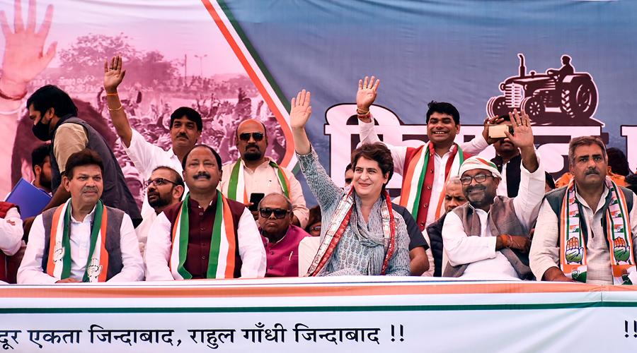 Congress leader Priyanka Gandhi Vadra waves to the crowd during Kisan Mahapanchayat against the Centres agri-laws, in Mathura on Tuesday.