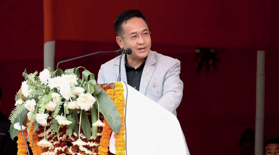 Chief minister PS Tamang speaks at the induction programme in West Sikkim on Tuesday.