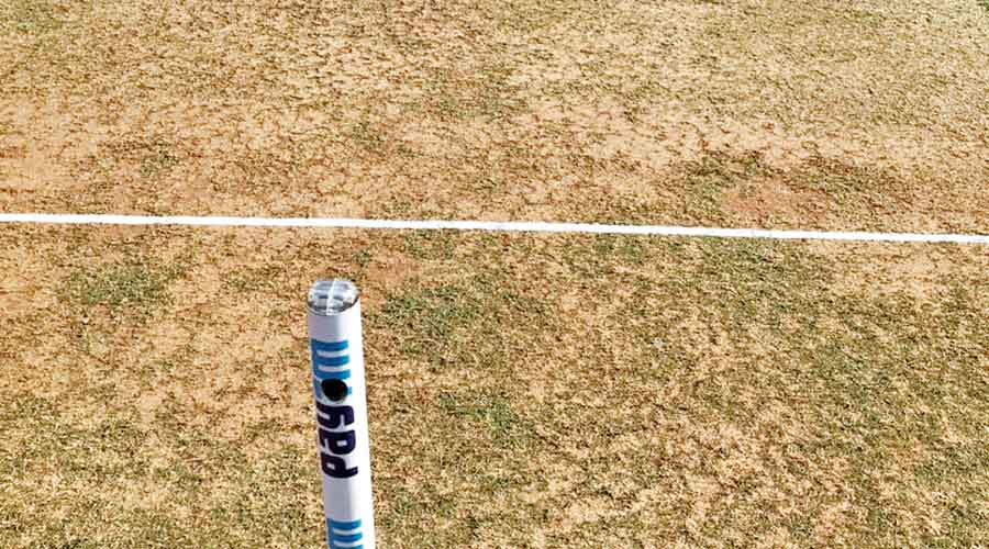 The pitch to be used for the third Test in Ahmedabad.