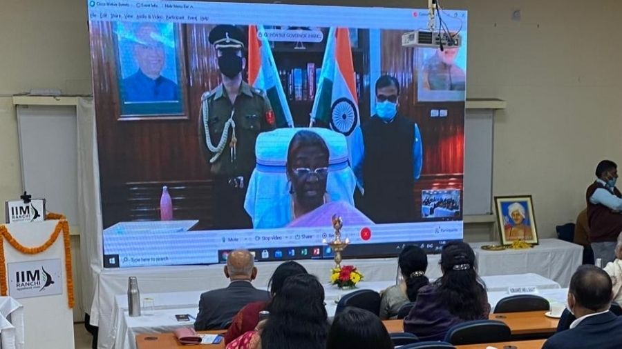 Governor Droupadi Murmu during her address on the occasion of launch of  Birsa Munda Centre for Tribal Affairs at IIM-Ranchi on Wednesday.