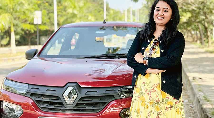 Nidhi Sosa Kurian with her car in Kochi on February 7, the day she  started the journey