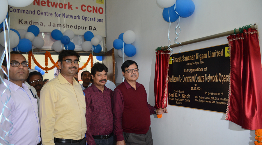 Chief general manager of BSNL's Jharkhand Circle K.K. Singh (in specs and maroon shirt) inaugurating the new Command Centre for Network Operation at Kadma telephone exchange in Jamshedpur on Thursday.
