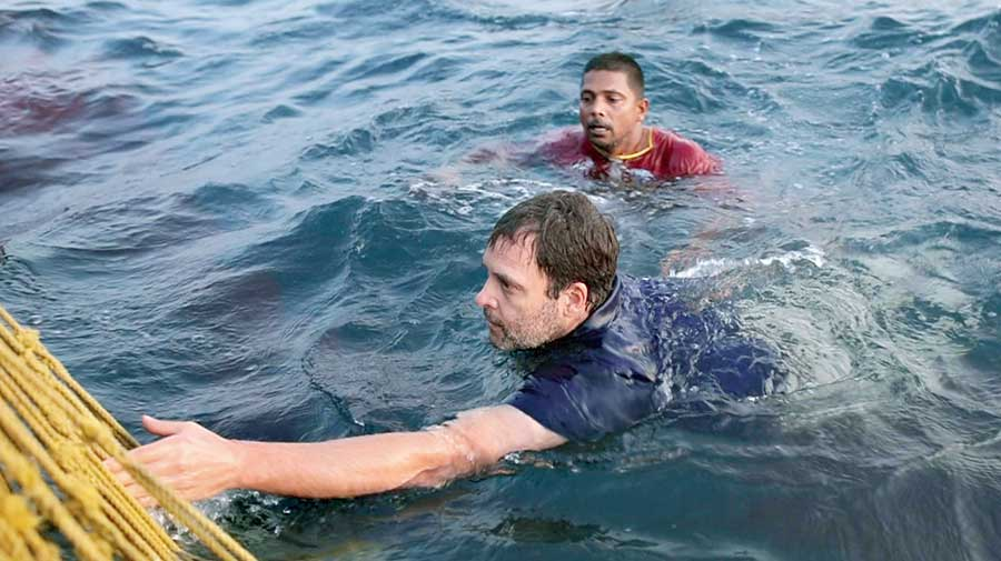 Rahul back at the boat after swimming with fishermen