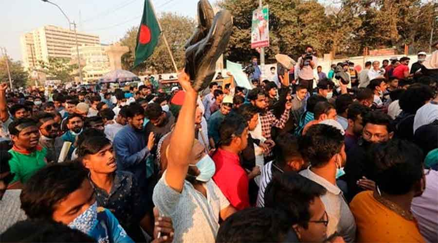 Hundreds of protesters gathered near the Dhaka University campus while many others took to social media to vent their anger.