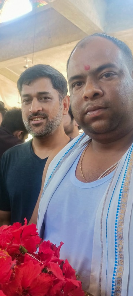 MS Dhoni with the main priest.