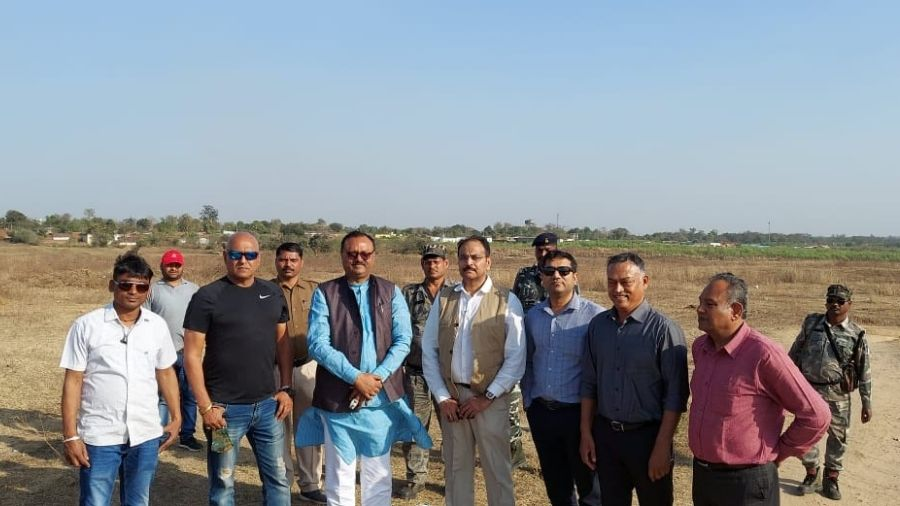 Jharkhand State Cricket Association (JSCA) members at the site of a proposed international cricket stadium in Bokaro on Saturday.