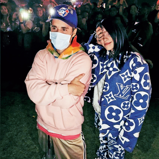 Billie Eilish with Justin Bieber at Coachella music festival in April 2019