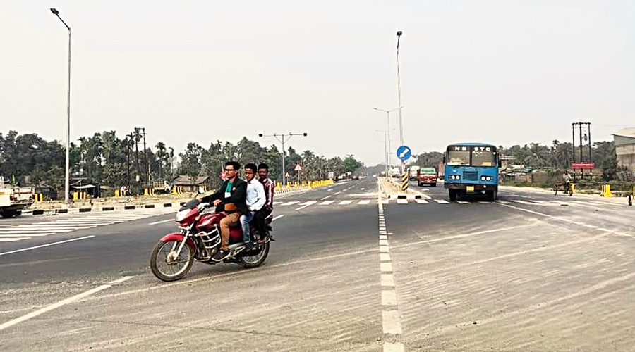 Vehicles on the new bypass in Islampur town, North Dinajpur, on Saturday.