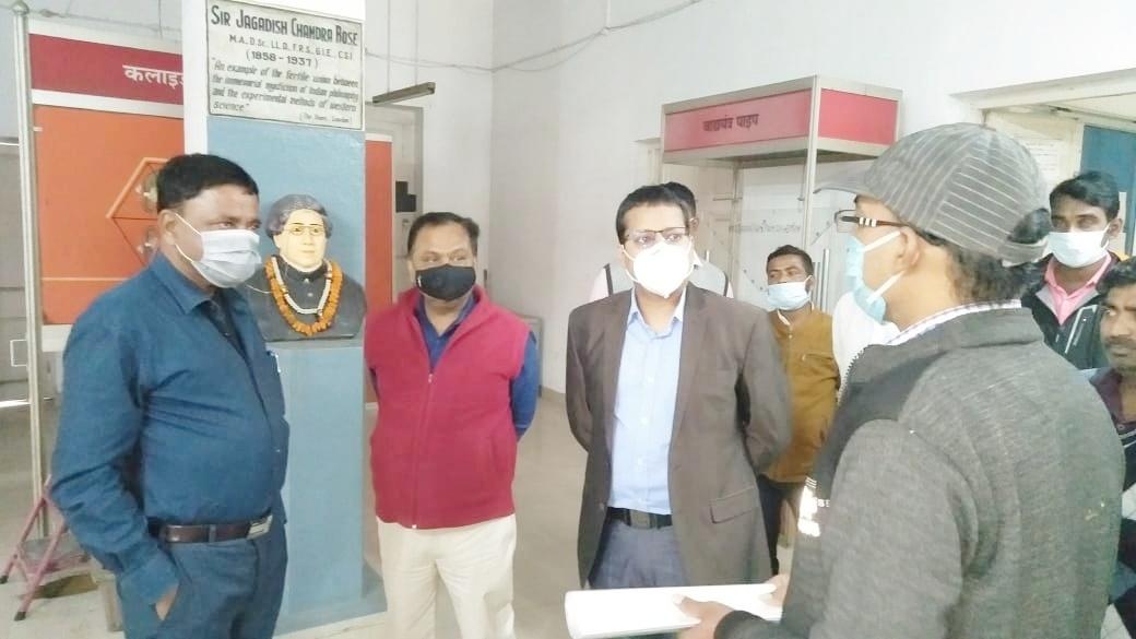 MLA Sudivya Kumar Sonu and DC Sinha inspecting the centre.