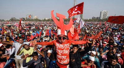 Supporters during Left-Congress and Indian Secular Front (ISF) joint rally, ahead of West Bengal assembly polls, in Kolkata, Sunday