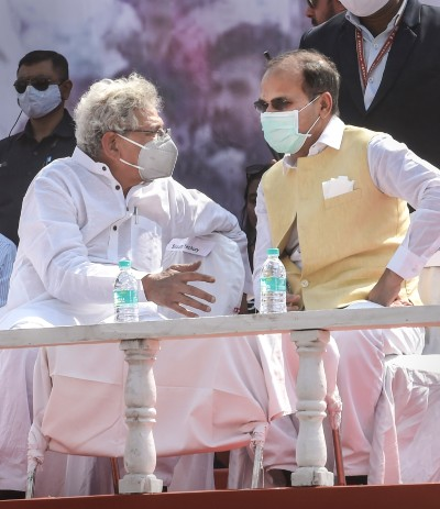 General Secretary of the Communist Party of India (Marxist) Sitaram Yechury and Congress State President Adhir Ranjan Chowdhury during Left-Congress and Indian Secular Front (ISF) joint rally, ahead of West Bengal assembly polls, in Kolkata, Sunday