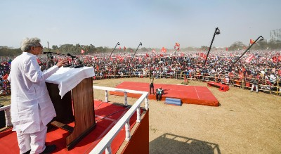 General Secretary of the Communist Party of India (Marxist )Sitaram Yechury addresses during Left-Congress and Indian Secular Front (ISF) joint rally, ahead of West Bengal assembly polls, in Kolkata, Sunday