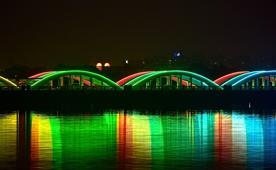 Napier bridge gets dynamic lighting system to mark new year celebration ,in Chennai on Thursday.