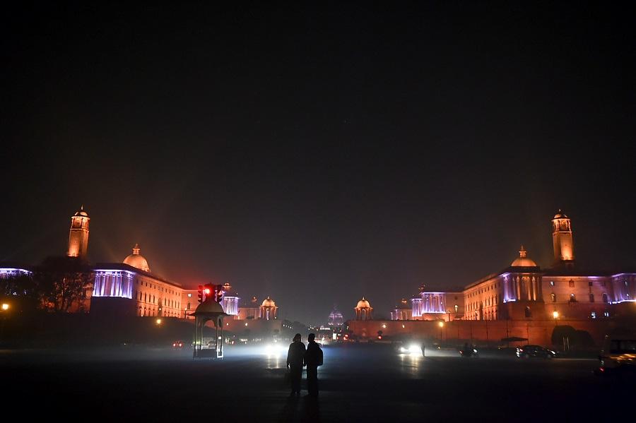 An illuminated Raisina Hill on the eve of the New Year 2021, in New Delhi on Thursday.