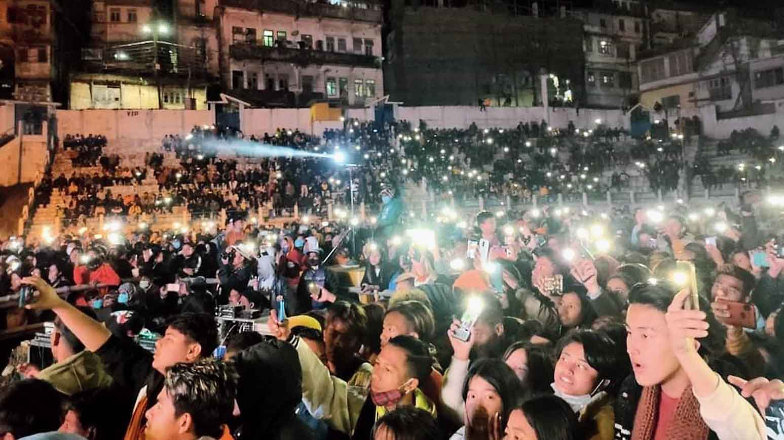 The audience at the musical show in Kalimpong on Sunday night