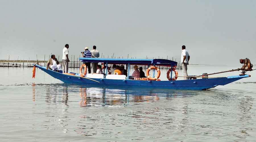 Visitors on a boat watch the migratory birds at Chilika