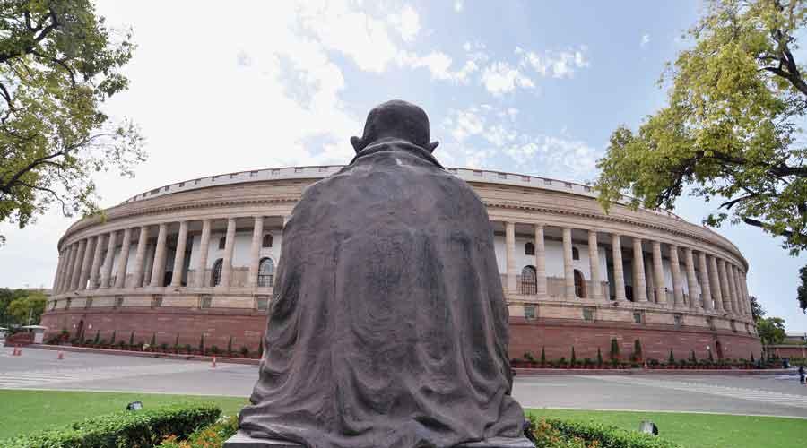 The Parliament building in New Delhi.