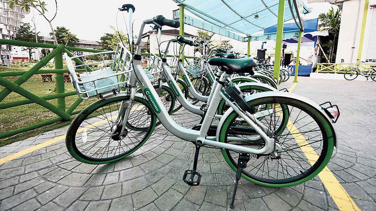 A bicycle docking station in New Town