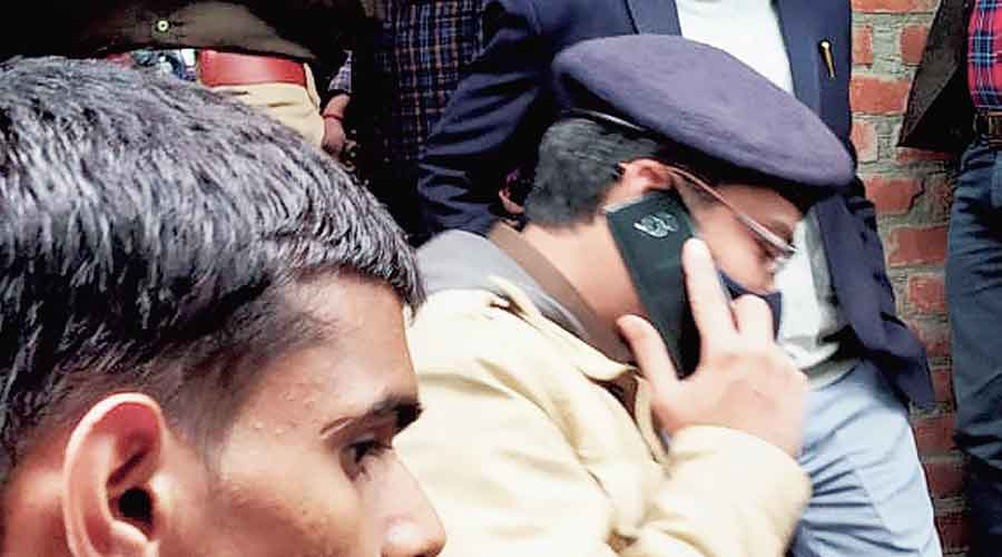 Badaun district magistrate Kumar Prashant and SSP Sankalp Sharma investigate the case on Wednesday