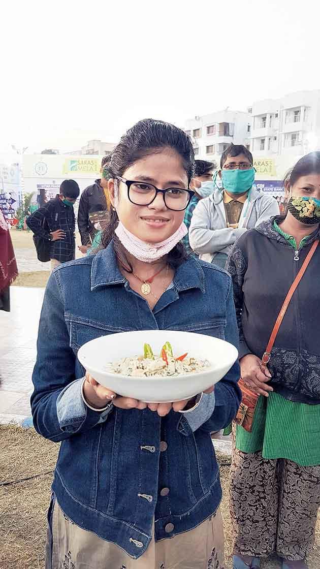 Aloka Mondal with her winning dish Cream Chingri