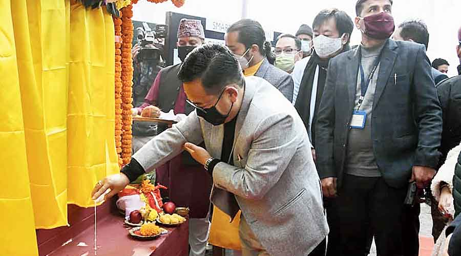 Tamang lays the foundation stone of the smart police station at Namchi in south Sikkim