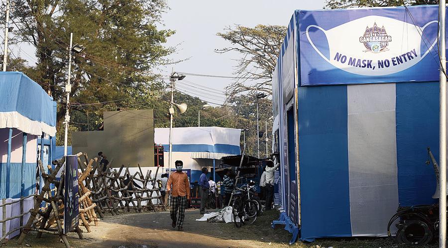 Preparation of Gangasagar transit camp underway in Calcutta on Wednesday.