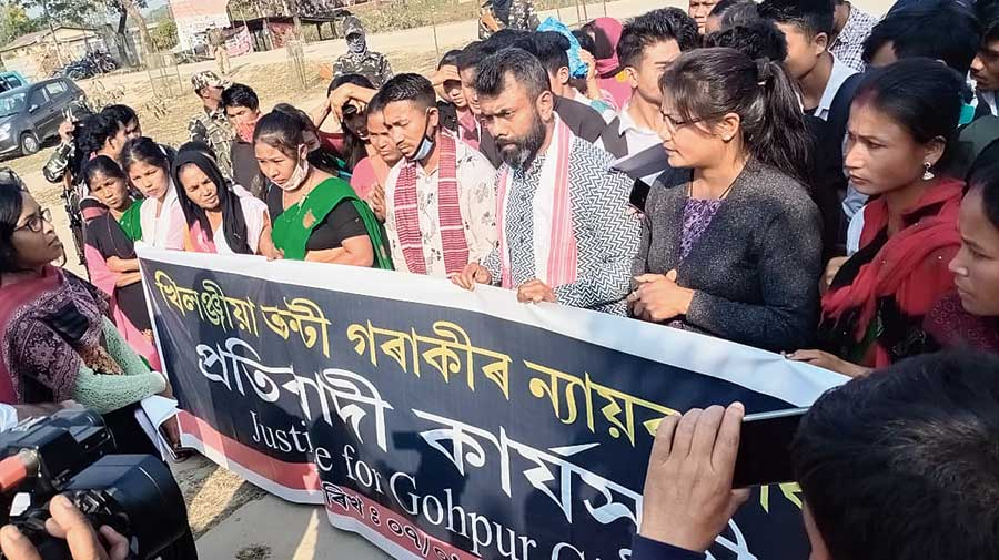 The protest in front of the SDO civil office in Gohpur seeking justice for the victim.