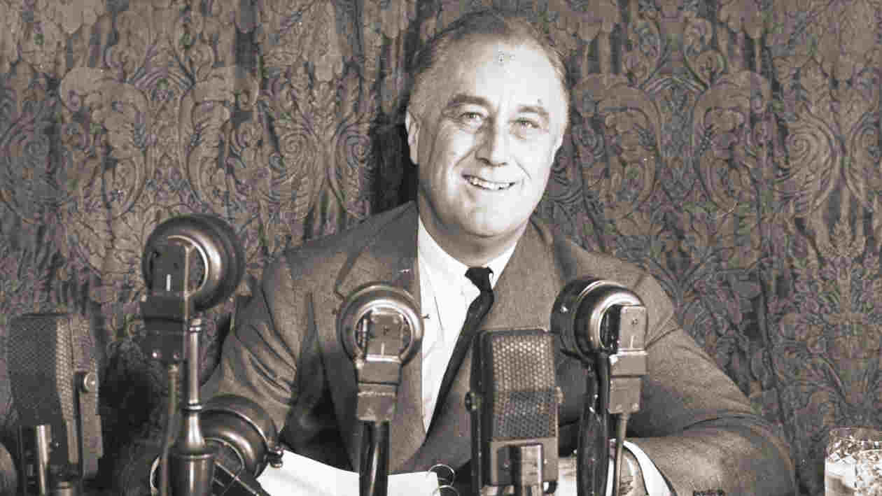 US president Franklin Delano Roosevelt addressing a press conference.