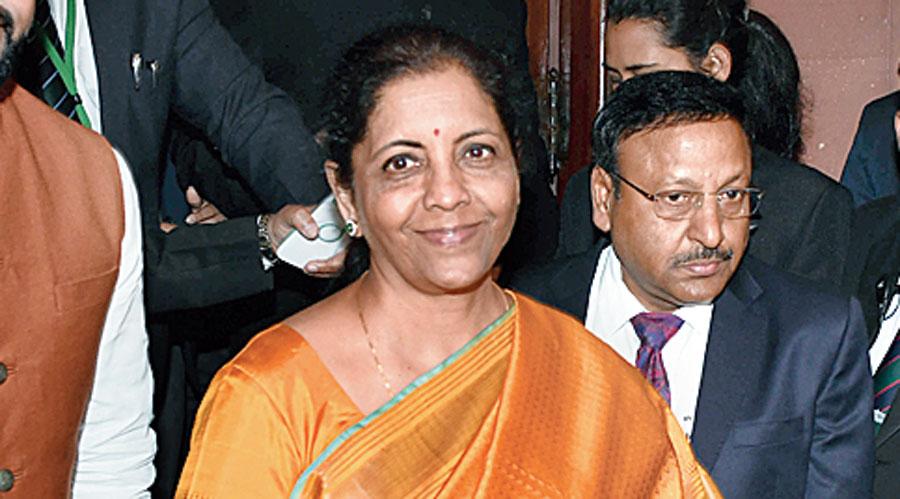 Nirmala Sitharaman with the Bahi Khata during  Union budget 2020.