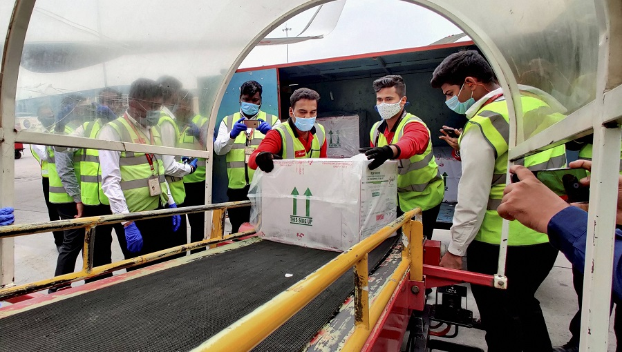 First consignment of COVID-19 vaccination arrives at Bengaluru Airport on Tuesday.
