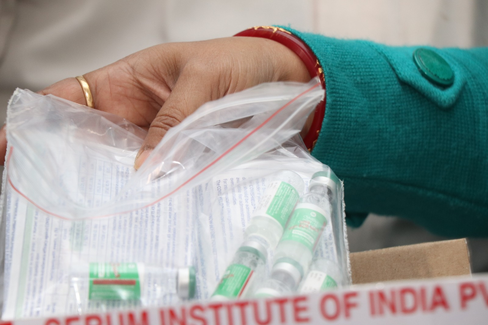 Vials of the Covishield vaccine at the district cold storage at Sakchi in Jamshedpur on Wednesday.