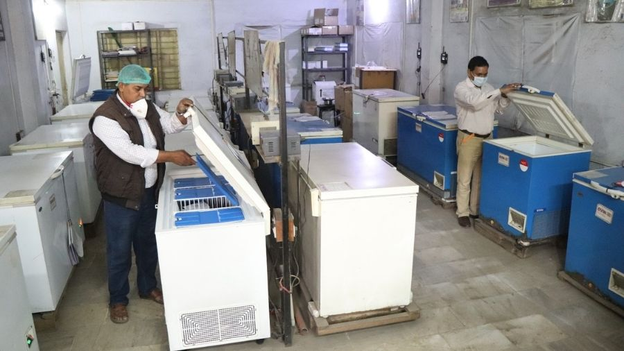 Covishield vaccines being stored at the district cold storage in Sakchi in Jamshedpur on Wednesday.